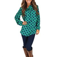 Be Real Green And Navy Ruffle Tunic | Monday Dress Boutique
