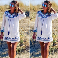 Print Drawstring Casual Dress