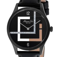 Women's Kenneth Cole New York Transparent Dial Leather Strap Watch, 38mm - Black/ Gunmetal