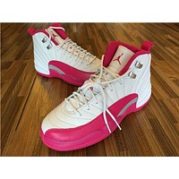 Air Jordan 12 GS Retro Vivid Pink White Pink AJ12 Sneakers