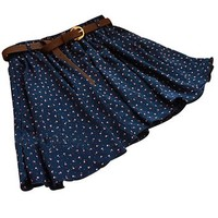 Sweet Blue Girls Pleated Floral Chiffon Mini Skirt with Belt