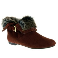 Women's Karyn's Fur Trimmed Cuffed Ankle High Boots Dusty-W-SU Brown