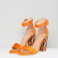 Glamorous Block Heeled Sandal With Patterned Block in Mustard at asos.com