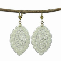 Lacy Leaf-Shaped Carved Bone Earrings - Natural - WorldFinds