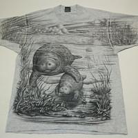Vintage 50/50 Manatee Baby & Mom Screen Stars T Shirt Mango Tree Wht Size XL