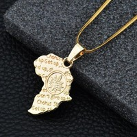 Shiny Stylish Gift Jewelry New Arrival Alloy Double Sided World Map Necklace [10768846275]