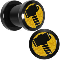 0 Gauge Licensed Hammer of Thor Acrylic Screw Fit Plugs Set   Body Candy Body Jewelry