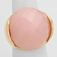 Pink Crystal Ball Silver Stretch Ring