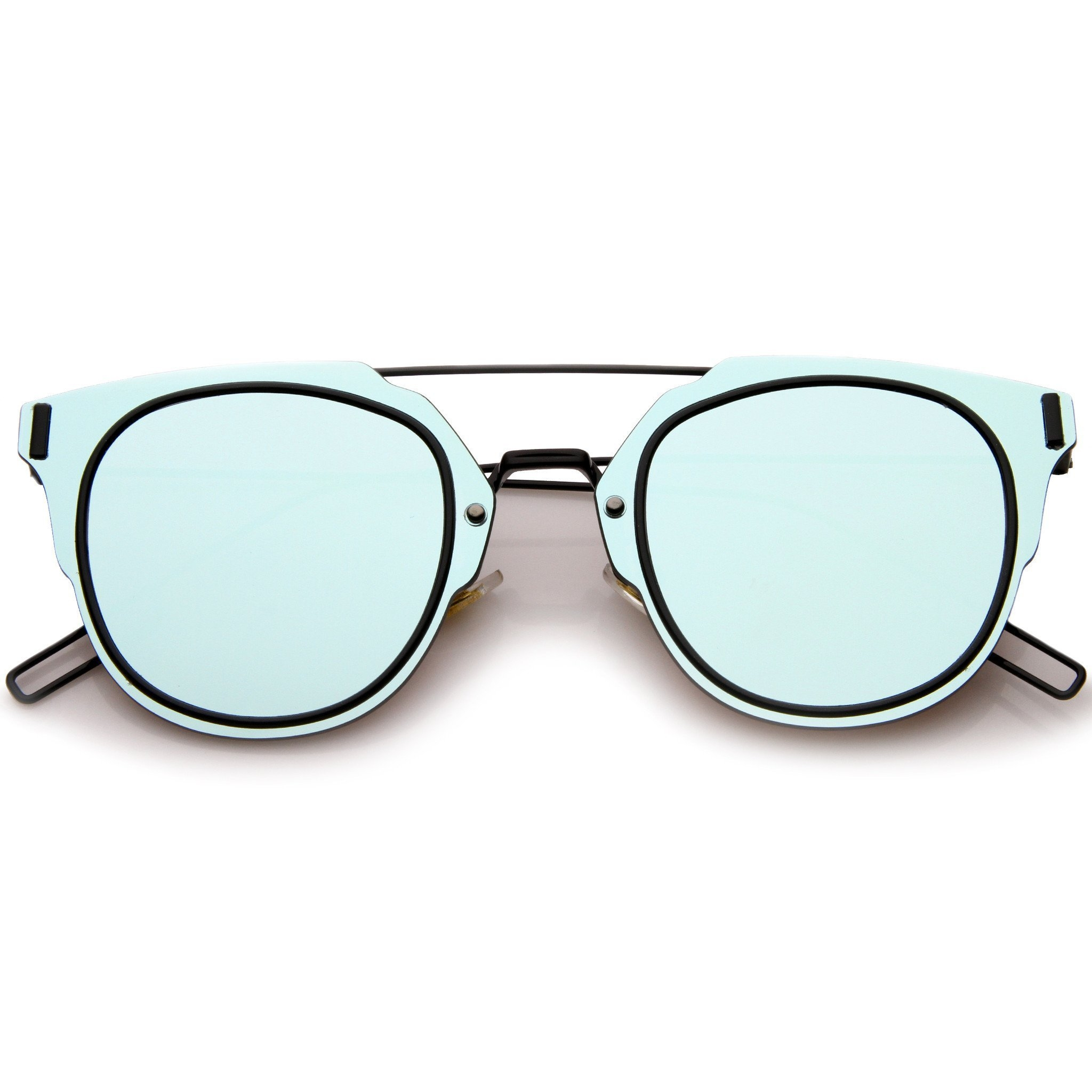 Image of Minimal Wire Inner Rim Flat Color Mirror Lens Sunglasses A361