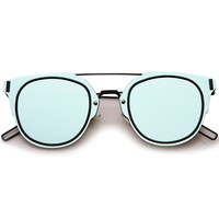 Minimal Wire Inner Rim Flat Color Mirror Lens Sunglasses A361