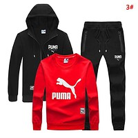 PUMA Autumn And Winter New Letter Print Long Sleeve Top And Coat And Pants Three Piece Suit  3#