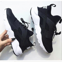 """""""NIKE""""AIR Huarache Running Sport Casual Shoes Sneakers Black(white soles)"""