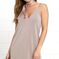 Great Beyond Taupe Shift Dress