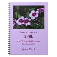 105th Birthday Party Guest Book, Purple Flowers Notebook