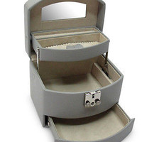 Morelle Company Laura Leather Jewelry Box Expandable Drawers - Paloma Grey - New
