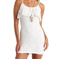 Flounce Lace Bodycon Dress by Charlotte Russe - White