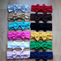 Big bow stretchy headband in 16 basic and sparkle colors