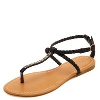 Braided & Bejeweled T-Strap Thong Sandals by Charlotte Russe - Black
