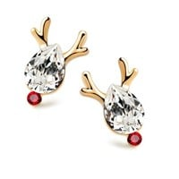 Amtify Crystal Red Nose Reindeer Stud Earrings
