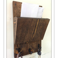 Rustic wood hanging  mail holder and key rack - wall mail sorter and key holder - mail organizer