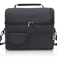 PuTwo Lunch Bag Insulated Large Capacity with YKK Zip Adjustable Shoulder Strap Lunch Bag - Black