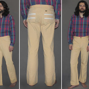 Mens Vintage 60s 70s NUDE TWILL LEE Pants / Flared Leg, Bell Bottoms / White Stripe Pockets / Cotton Pants / Rare, Ooak / 32 x 30