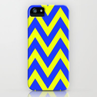 Blue & Yellow Chevron iPhone Case by daniellebourland | Society6