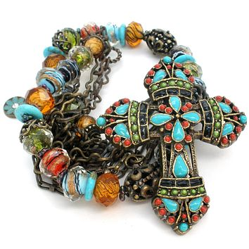 Sweet Romance Mayan Cross Necklace