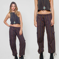 Vintage 90s CARGO Pants Cotton Drawstring STRIPED Pants HIPPIE Pants Relaxed Trouser