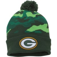 Men's Green Bay Packers New Era Forest Green Camo Top Knit Hat