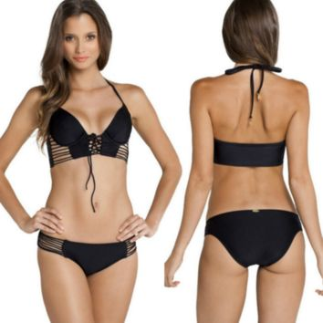 CUTE SEXY V BOW SEXY HOLLOW OUT BIKINIS