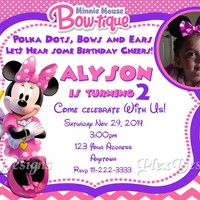 MINNIE MOUSE BOWTIQUE Birthday Party Invitations