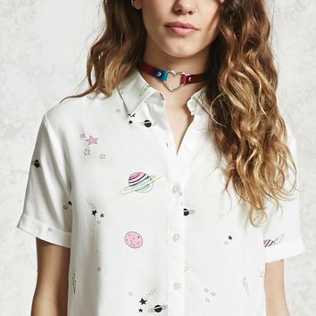 Space Print Cropped Shirt