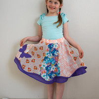 Toddlers skirt, Girls Patchwork Twirl Skirt, Romantic Butterfly Skirt, Girls Midi Skirt, Handmade Violet and Orange Skirt