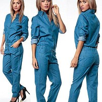 Women Fashion Denim Jeans Long Sleeve Overalls Straps Jumpsuit Trousers women bodysuits office lady