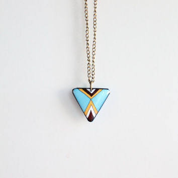 Triangle necklace, geometric necklace, triangular necklace, abstract necklace, tribal necklace,blue, brown, mustard