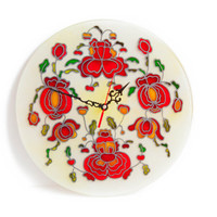 """12""""  Red flowers -round glass wall decor &  flowers decor-  red unique wall clock -country  decor-glass painting"""