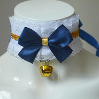 Kittenplay bdsm proof collar - Laced sapphire -  white and blue - ddlg princess lolita petplay kink choker w leash ring - kitten play gear