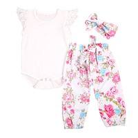 born Toddler Baby Girl Lace Tops Romper +Floral Pants +Bow Headband Outfit Clothes