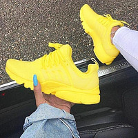 """NIKE""Air Presto Fashion New Men Women Running Sport Casual Shoes Sneakers Yellow White Soles"
