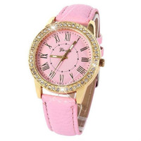 LADIES PINK ICED WATCH