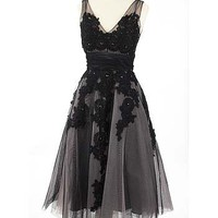 50's Look Black Pink Tulle Lace Applique Tea Length Party Dress-Vintage Style Dresses