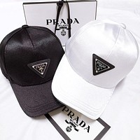 alwayn PRADA Trending Woman Men Print Sport Baseball Cap Black White Silk