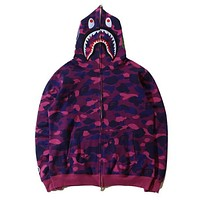 BAPE AAPE Autumn Winter Classic Popular Women Men Casual Camouflage Print Hooded Zipper Velvet Cardigan Sweatshirt Jacket Coat Sportswear Purple