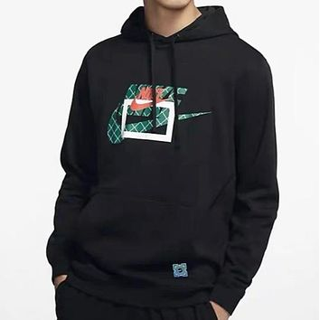 NIKE New fashion letter hook print hooded long sleeve sweater top Black