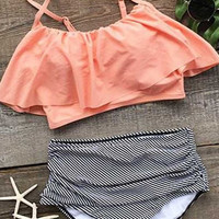 Seaside Gale Falbala High-waisted Bikini Set