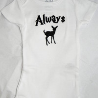 Always Doe Baby Bodysuit. Fandom Baby Geek Baby Gift.