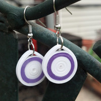 Paper Quilled Earrings Round Circle - Bright White and Purple - quilling paper jewelry, paper earrings, small earrings, eco friendly