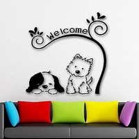 Wall Stickers Dog Cute Animal Pet Welcome Nursery Kids Room Vinyl Decal Unique Gift (ig1337)
