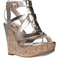 GUESS Harlea Cork Wedge Strappy Sandals - Gold